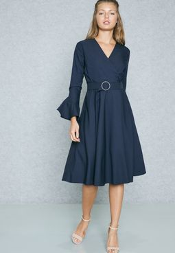 Wrap Front Ruffle Cuffed Belted Dress