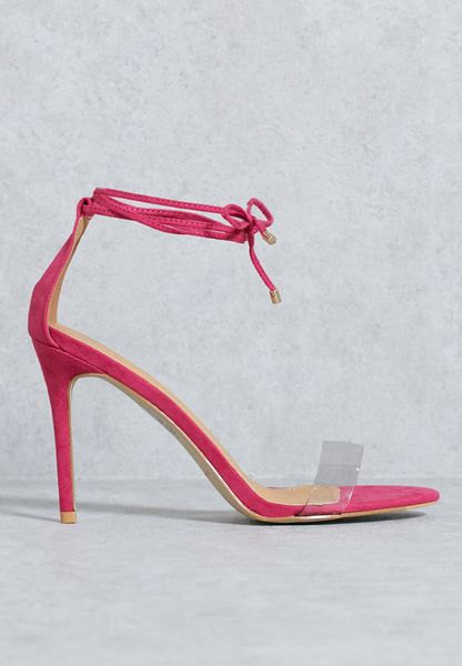 Leo Clear Strap Tie Up Heeled Sandal