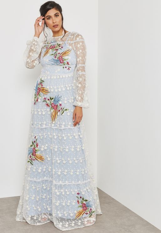 Embroidered Lace Mesh Dress