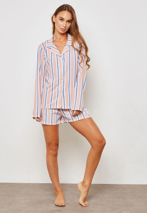 Long Sleeve Striped Pyjama Set