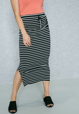 Tie Waist Striped Skirt