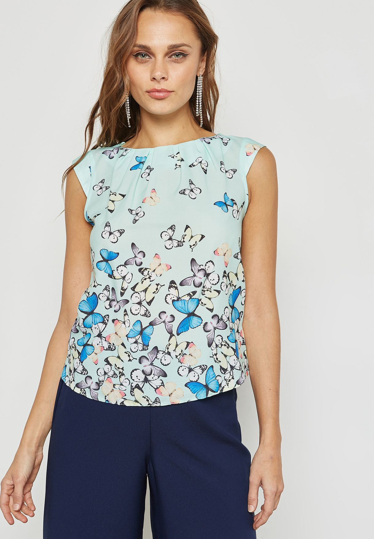 Butterfly Print Shell Top