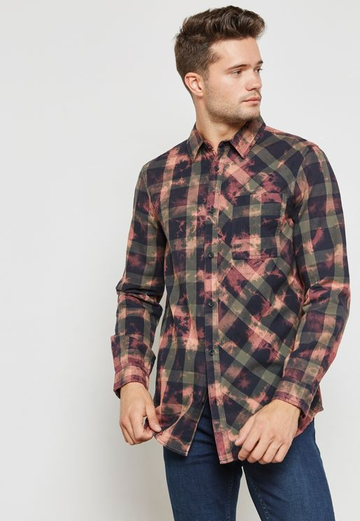 Jerky Bleached Checked Shirt