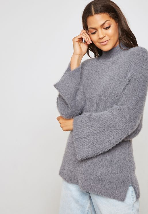 High Neck Fuzzy Sweater