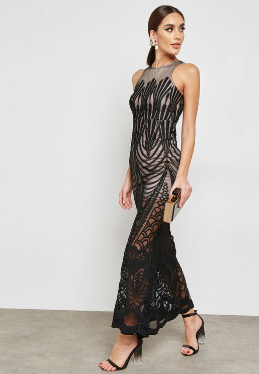Lace Mesh Overlay Maxi Dress