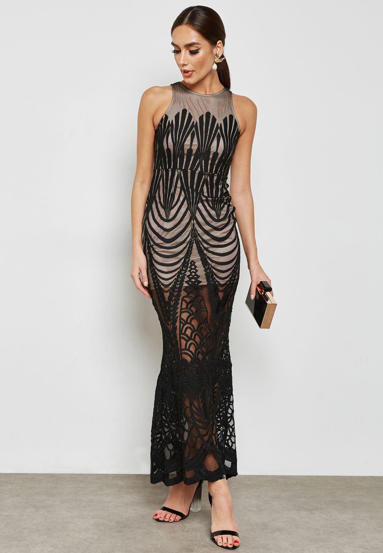 Lace Mesh Overlay Maxi Dress