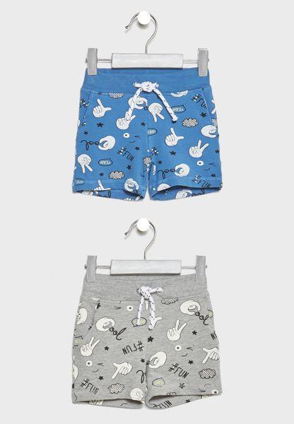 2 Pack Printed Sweat Shorts