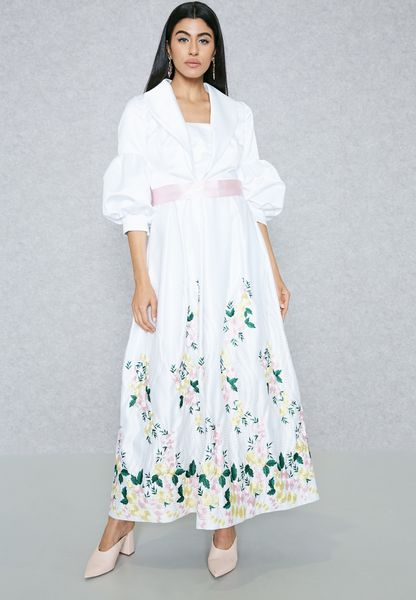 Embroidered Hem Self Tie Dress