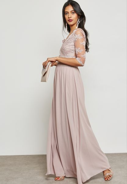 Mesh Sleeved Maxi Dress