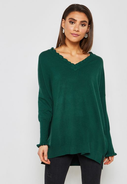 Ruffle Trim Oversized Sweater
