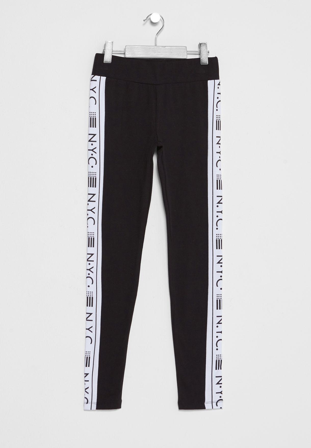 073cb12cf08f22 Shop New Look black Teen NYC Flag Side Print Leggings 541369201 for ...