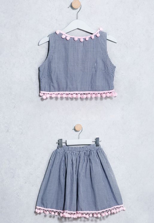 Little Gingham Top + Skirt Set