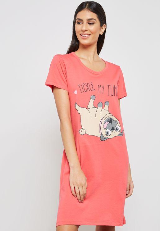 Dog Print Night Dress