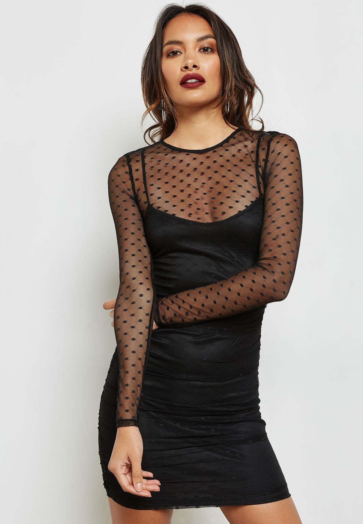 385aabb6696ee8 Shop Forever 21 black Mesh Dotted Dress 210611 for Women in UAE ...