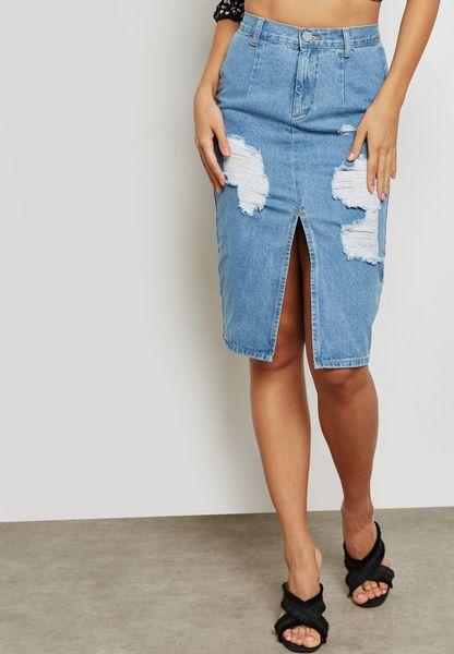 Ripped Denim Pencil Skirt