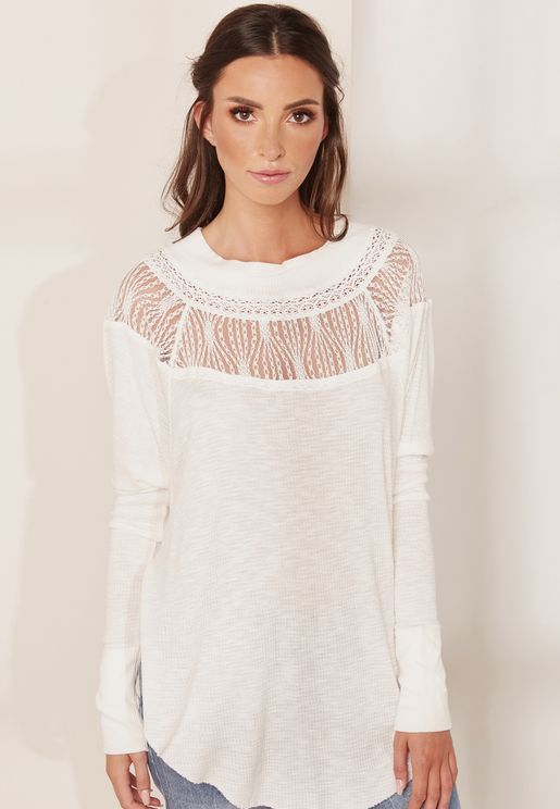 Cut Out Lace Detail Top