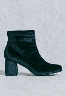 Velvet Block Heel Boot