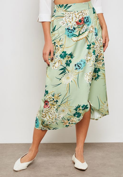 Floral Print Wrap Front Skirt