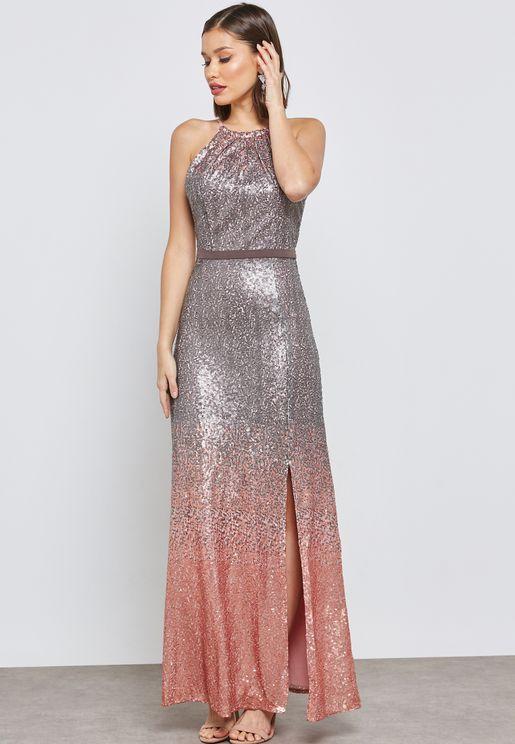 Halter Shimmer Ombre Dress