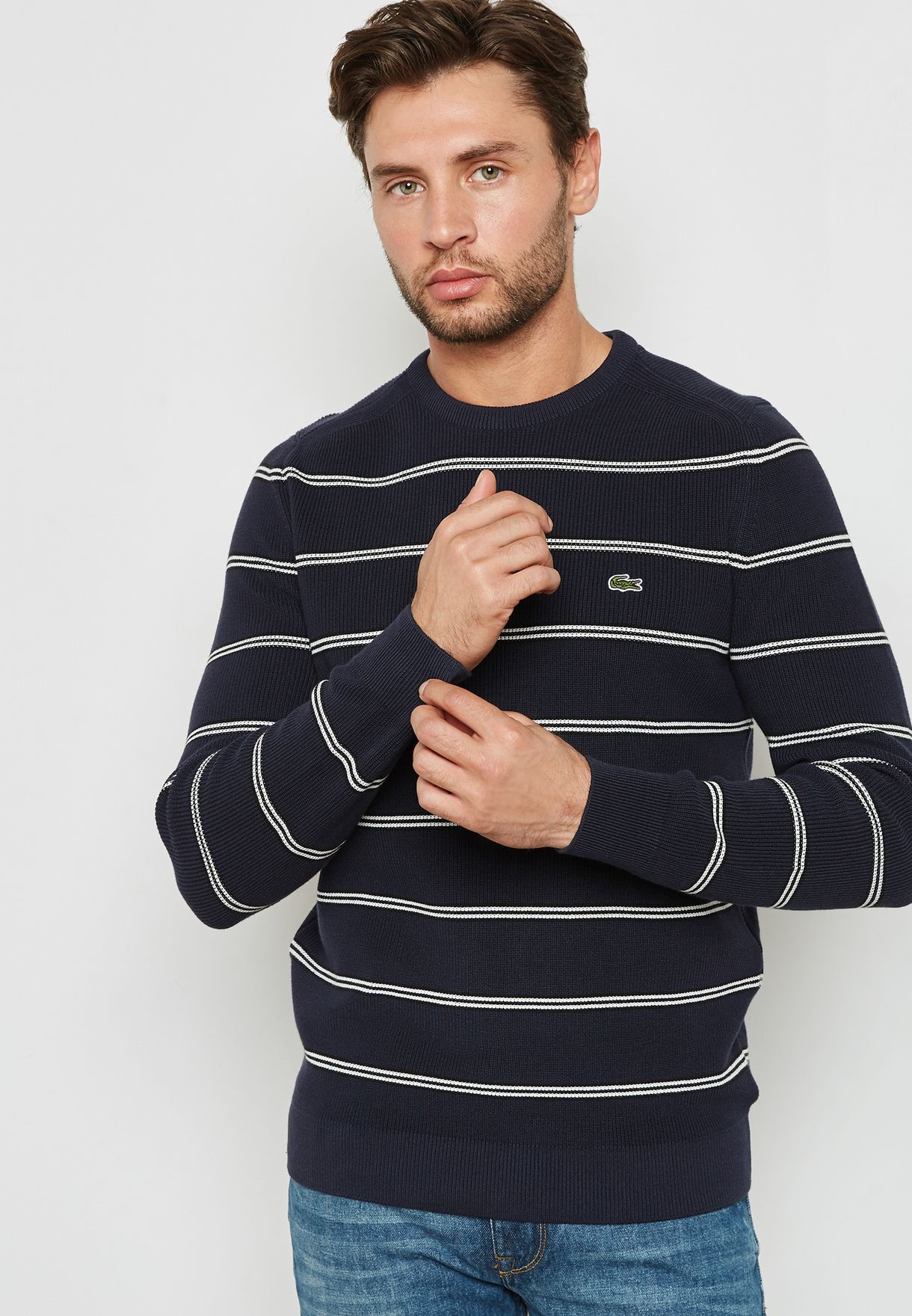 a4936242d7e9 Shop Lacoste stripes Striped Half Cardigan Sweater AH4548-M3T for ...