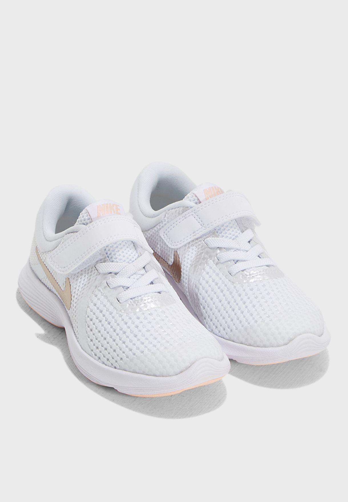 a38f2fa89340f Shop Nike white Revolution 4 Kids 943307-100 for Kids in UAE ...