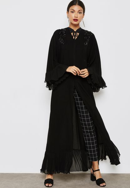 Pleated Trim Handwork Detail Abaya