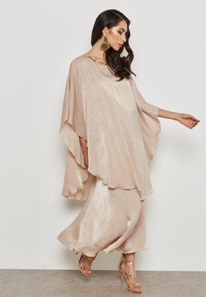 Embellished Ruffle Sleeve Overlay Dress