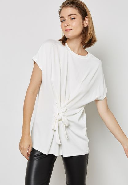 Front Tie Ribbed T-Shirt