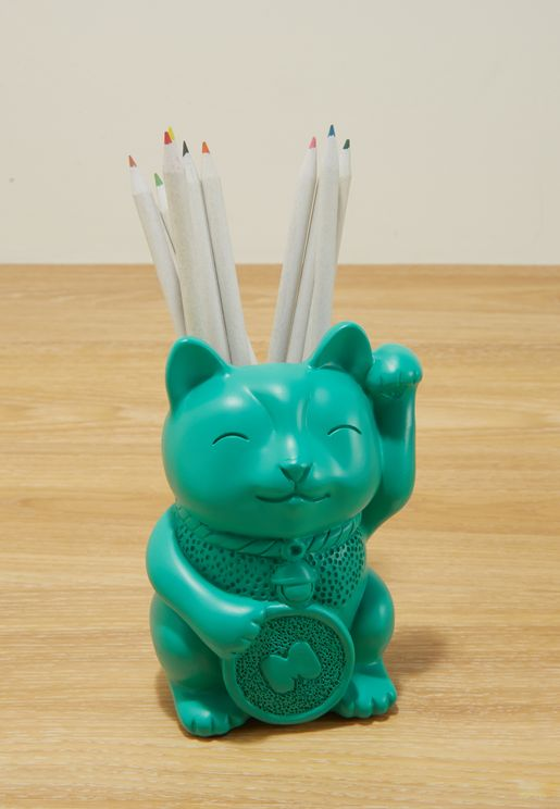 Lucky Cat Shaped Pen Pot With Magnetic Arm
