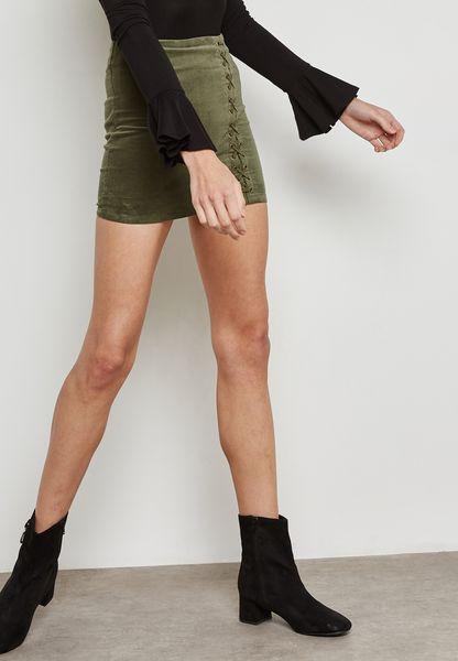 Velvet Lace-Up  Skirt