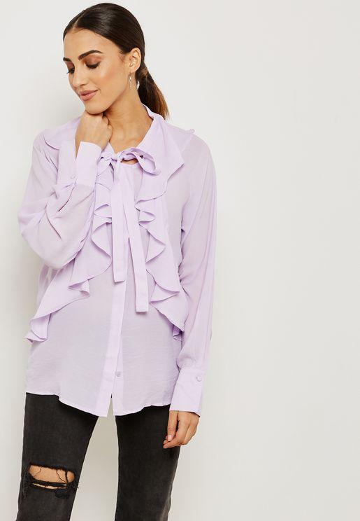 Tie Neck Ruffle Detail Shirt