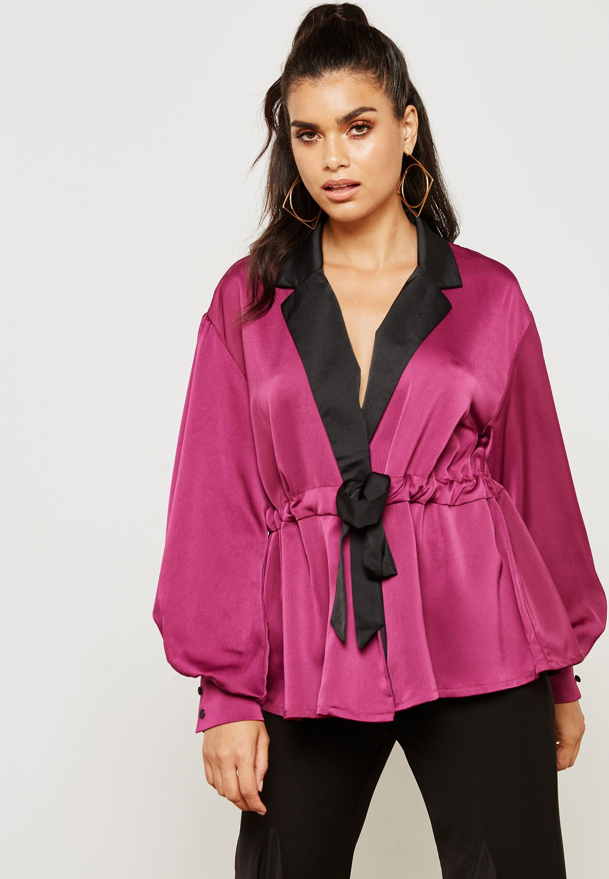 Contrast Wrap Front Satin Top