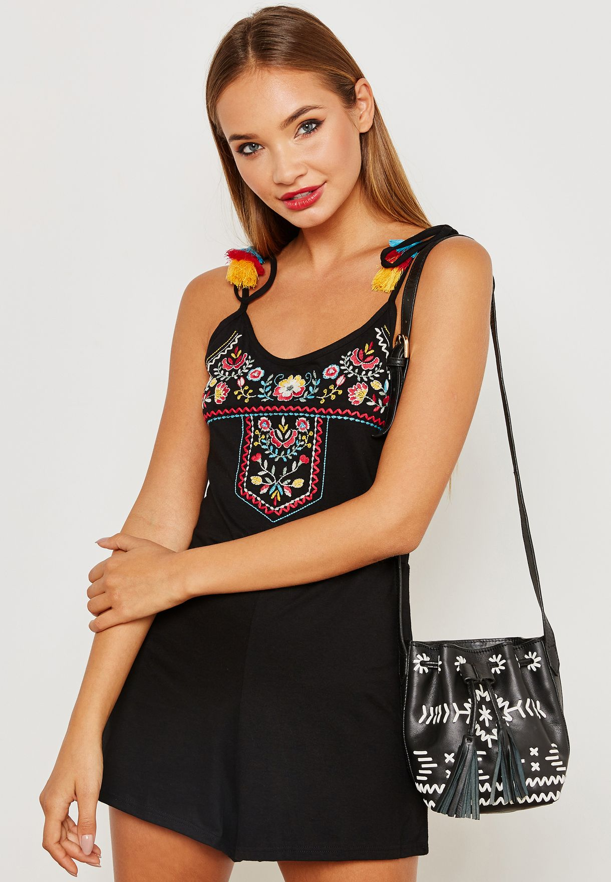9227408c547f Shop Topshop black Tie Shoulder Embroidered Beach Playsuit 14B06NBLK ...