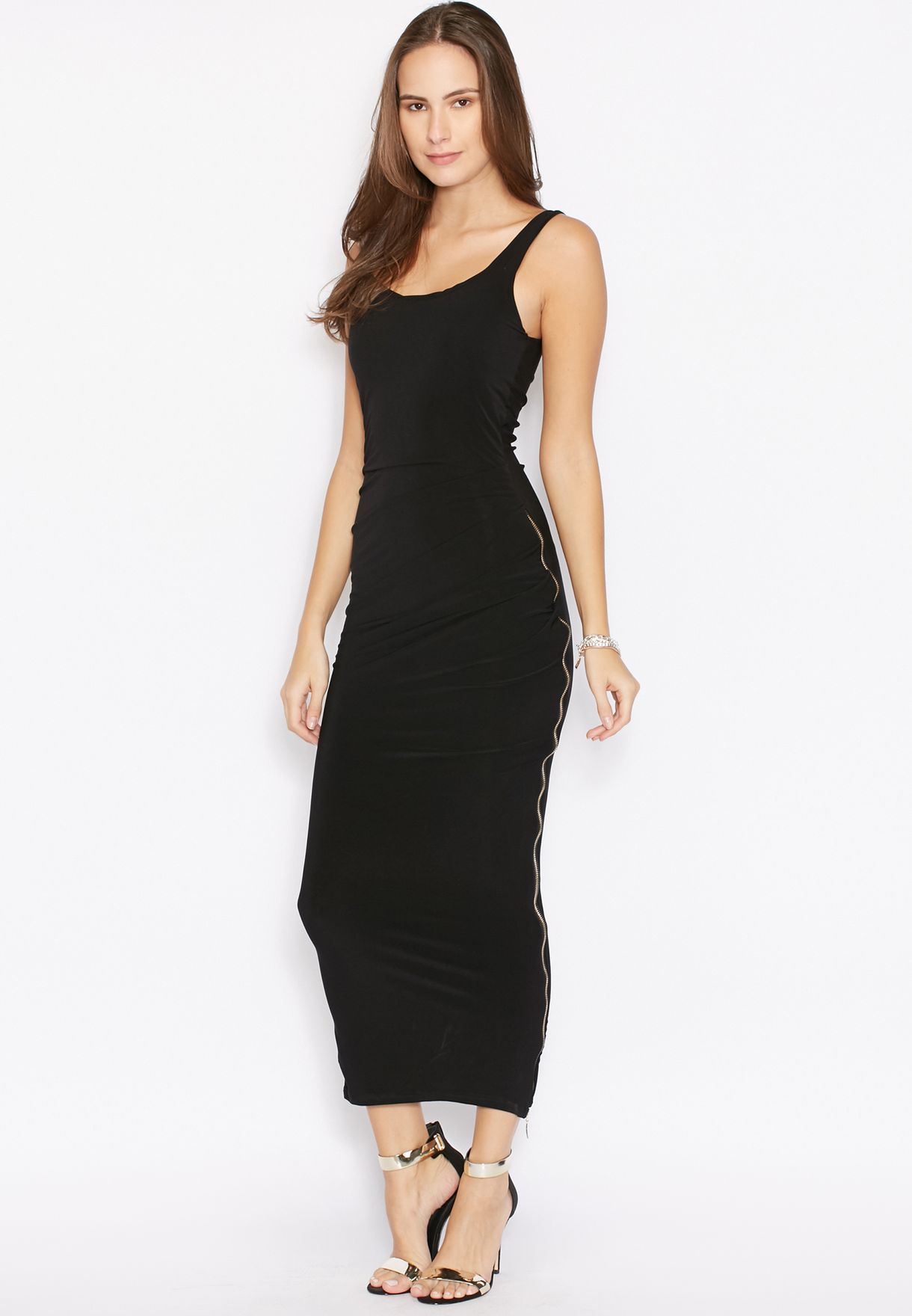 71b6fc962a9 Shop Ginger Basics black Side Zip Maxi Dress for Women in Qatar ...