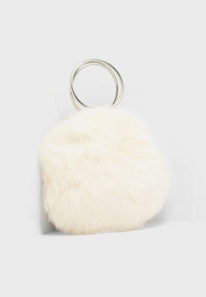 Faux Fur Round O-Ring Clutch