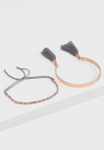 Multipack Bead Tassle Bracelets