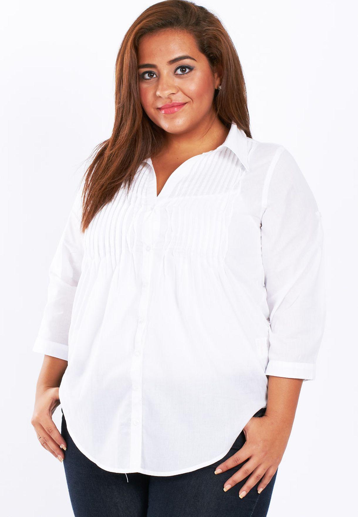 b5314a7d04b Shop Emoi En Plus white Plus Size Blouse for Women in Kuwait - VE172AT79DQY