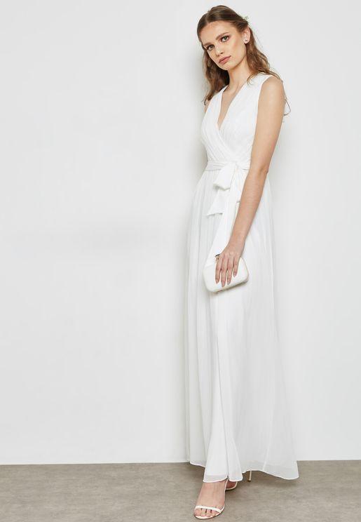 Belted Sheer Maxi Bridal Dress