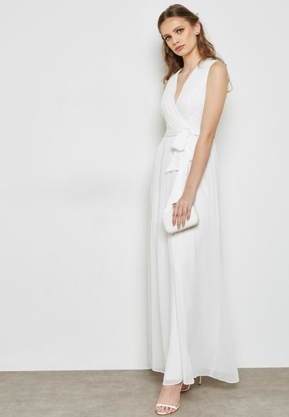 Belted Sheer Maxi Bridal Dress