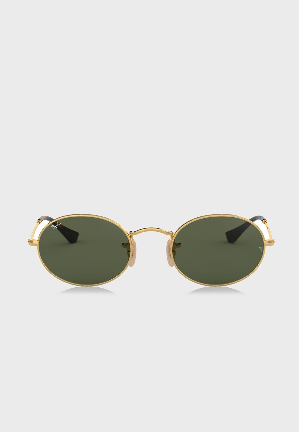 bfa8f65415 Shop Ray-Ban gold 0RB3547N Oval Flat Lenses Sunglasses 8053672611526 ...