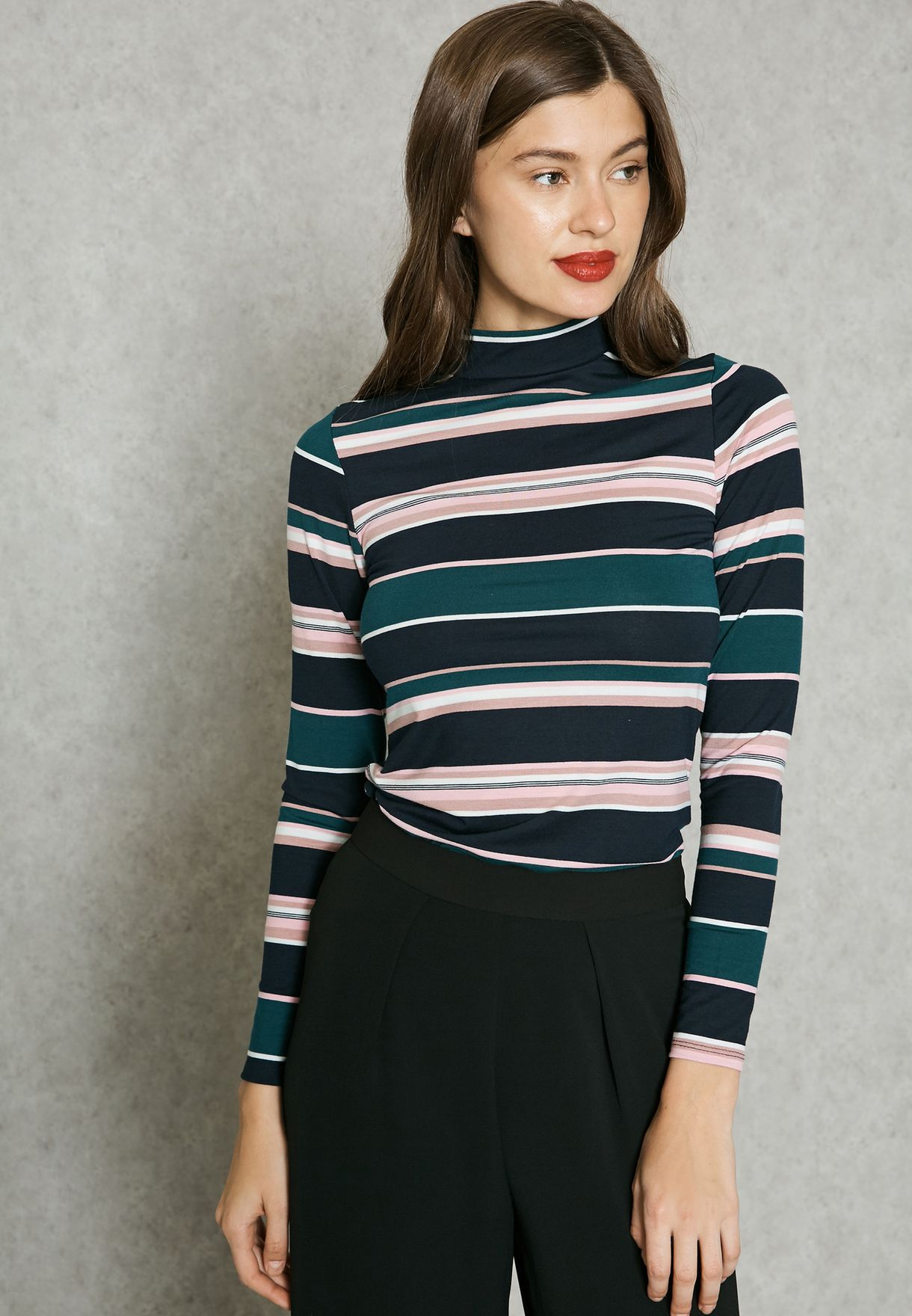 0b4bda62081 Shop Dorothy Perkins multicolor High Neck Striped T-Shirt 56541411 ...