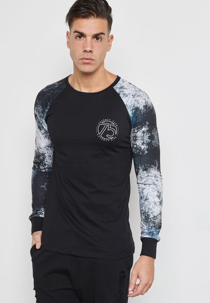 Printed Sleeves Crew Neck T-Shirt