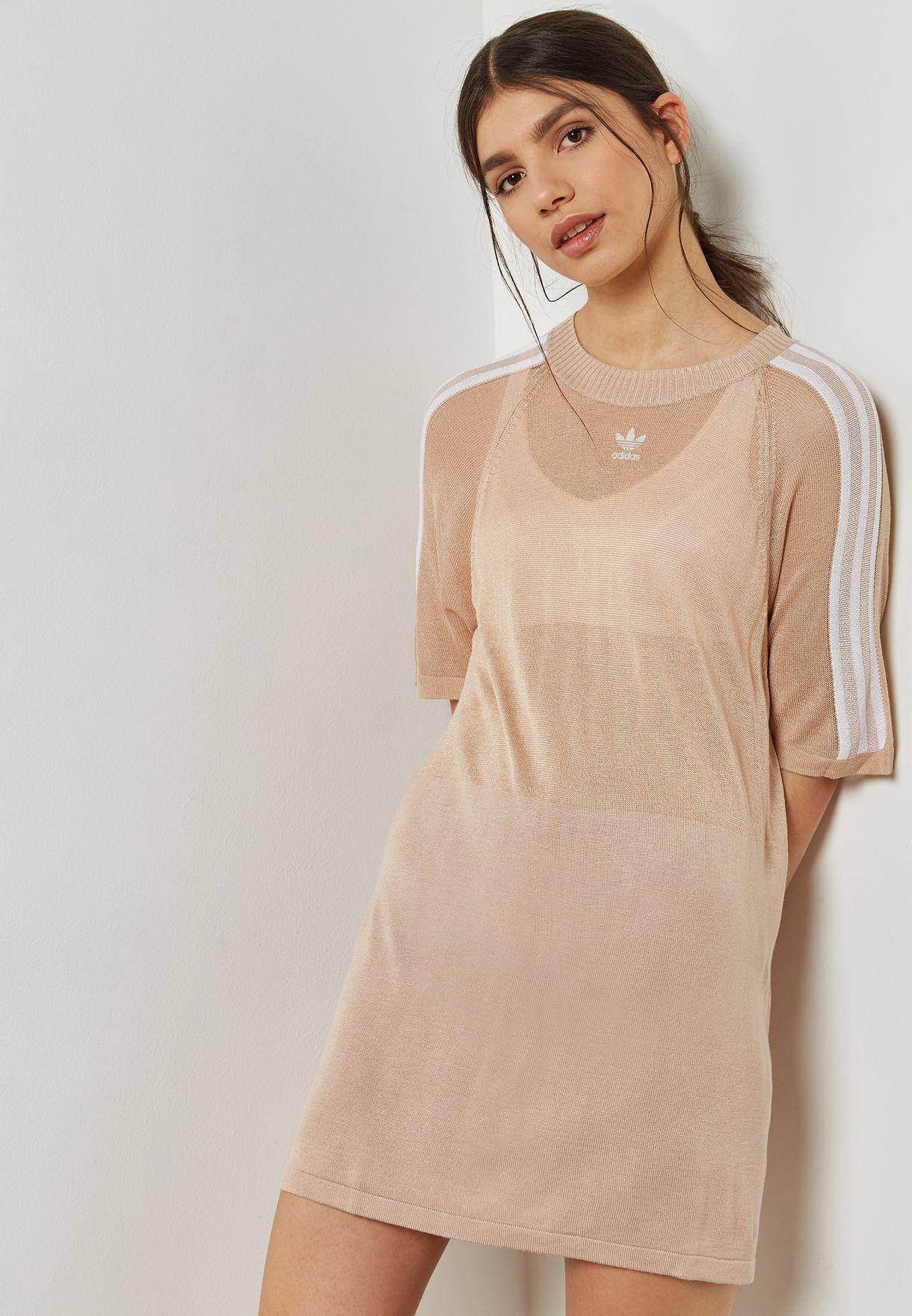 9275be3835 Shop adidas Originals beige 3 Stripe Dress CY5844 for Women in UAE ...