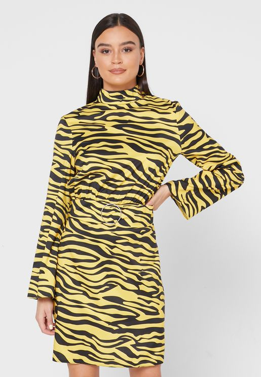 Zebra Print Ring Buckle Midi Dress