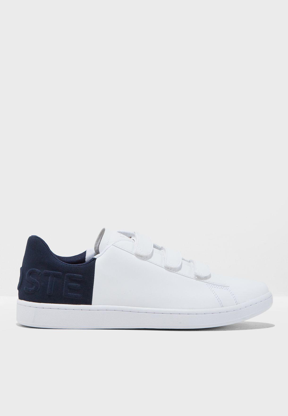 f2bf46fa0 Shop Lacoste white Carnaby Evo Strap Sneakers 36SPM0017042 for Men ...