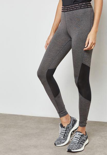 Textured Mesh Detail Leggings