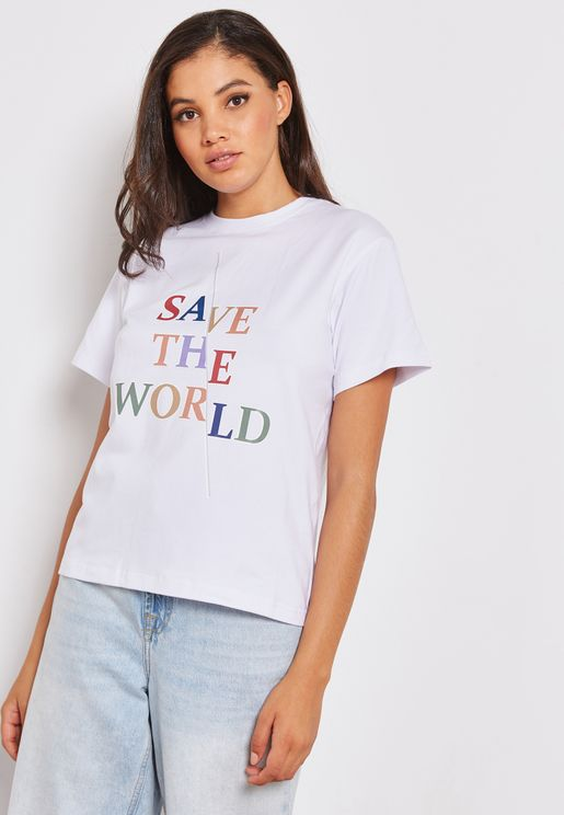 Graphic Print Classic White Slogan T-Shirt