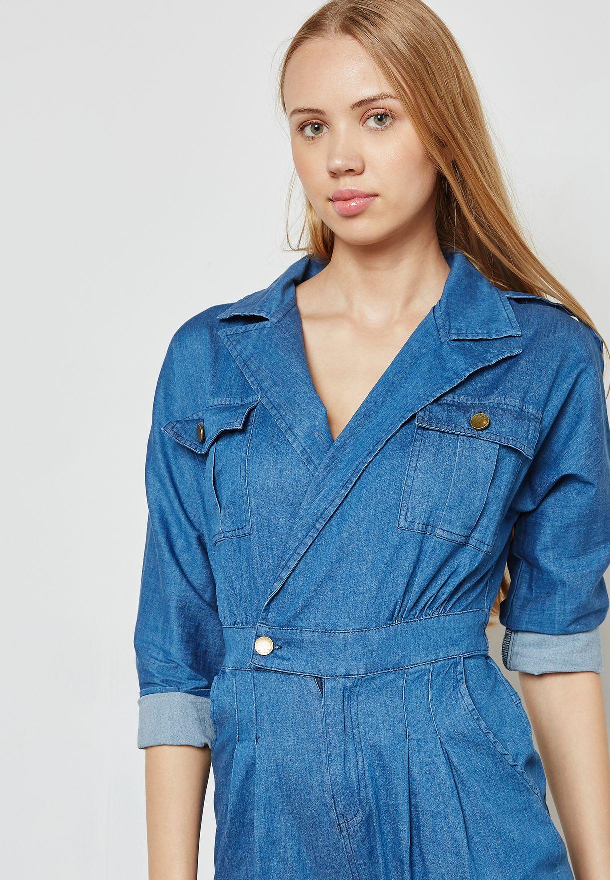 491faa36e78a Shop Ginger blue Wrap Front Denim Culotte Jumpsuit 5159  for Women ...