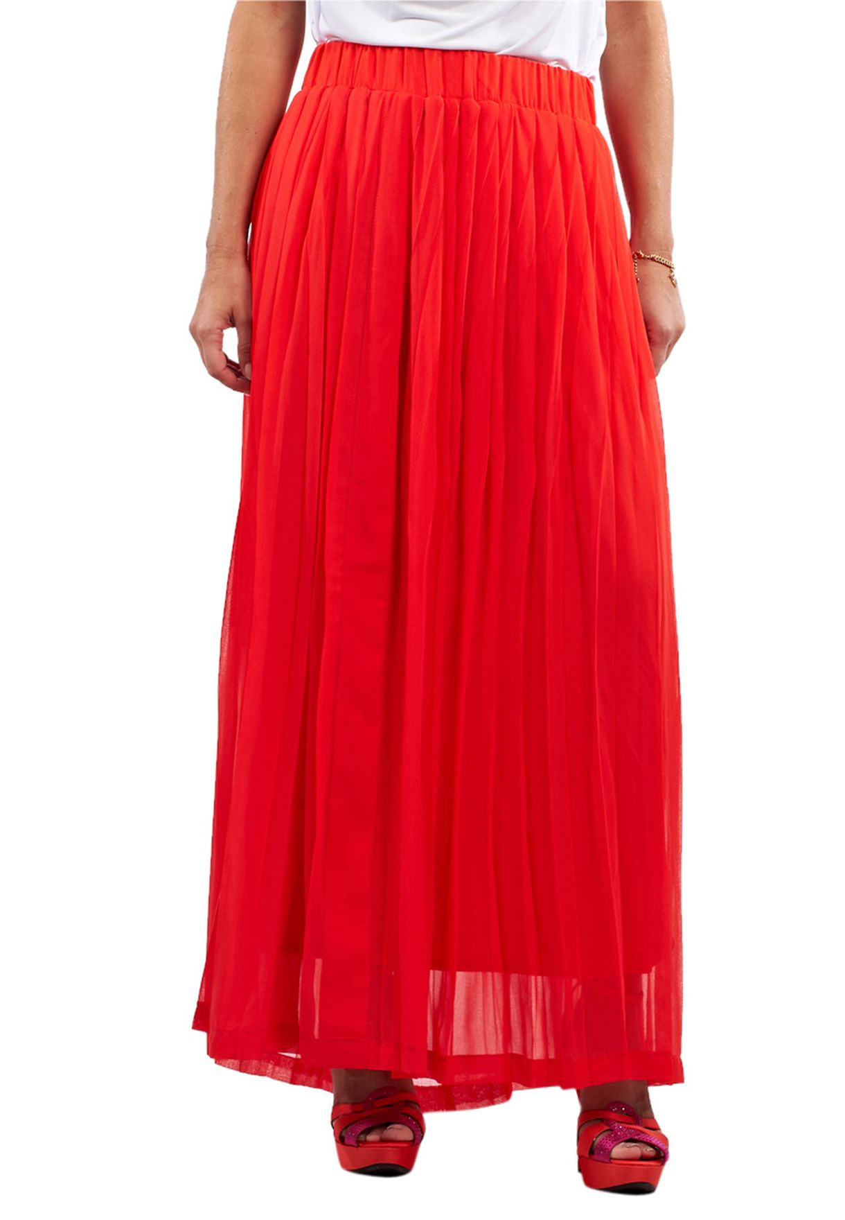 afb04d95b1 Shop Collective Concepts orange Pleated Maxi Skirt for Women in UAE ...