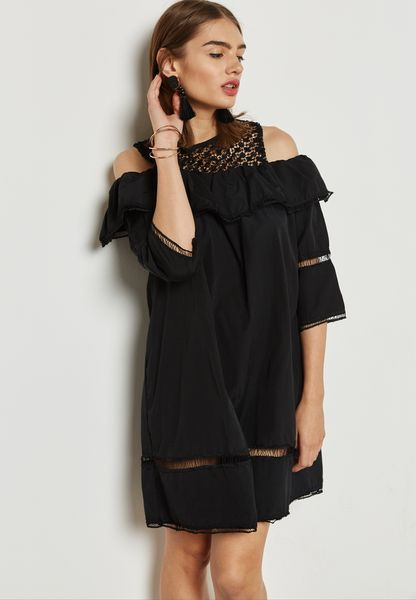 Lace Ruffle Cold Shoulder Dress